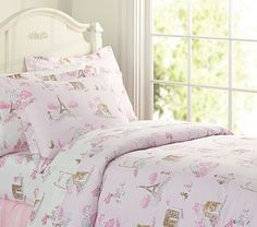 Girls Room - Paris Toile Sheeting with Hannah Ribbon quilt on potterybarnkids.com