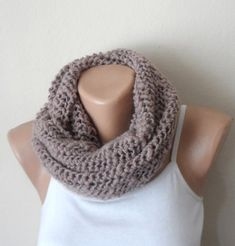 natural rustic knit infinity scarf pinkish beige circle scarf