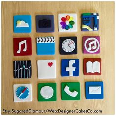 Fondant Mini iPhone App Cupcake Toppers Set of 16-2x2