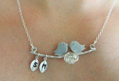 bird mother jewelry | Mothers Jewelry - LOVE BIRDS and KIDS Necklace Personalized Family ...