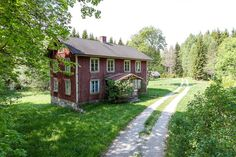 Skogsfastighet, Ed, Rämne Ed Swedish Cottage, Red Cottage, Sweden House, Red Houses, House In Nature, A Frame Cabin, Small Buildings, Happy House, Scandinavian Home