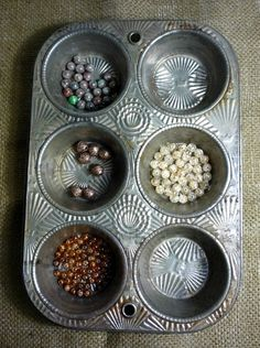 CRAFT Organization: Vintage Muffin Tin...great way to organize beads for jewelry making