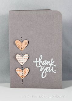handmade thank you card ... gray base ... three punched hearts in a column with faux sewing line down the center ... sweet ...