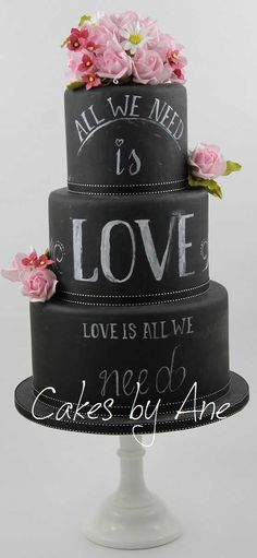Chalk Board Cake Luxury Wedding Cake, White Wedding Cakes, Elegant Wedding Cakes, Bolo Chalkboard, Beautiful Cakes, Amazing Cakes, Cake Name, Homemade Birthday Cakes, Fashion Cakes