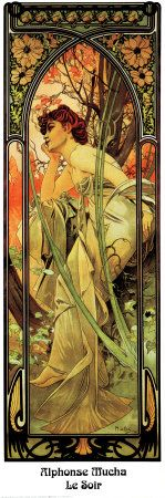 Alphonse Mucha (1860 – 1939) was a Czechoslovakian Art Nouveau artist who pioneered a sensuous, ornate style replete in stained glass colors, elaborately curving lines and ethereal women. Realizing that living people created the art he admired in churches, Mucha became inspired to paint.