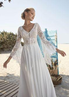 Boho Hippie Brautkleid Trompetenärmel lange Ärmel Spitze Lace Wedding Dress, Bohemian Wedding Dresses, Long Sleeve Wedding, Rembo Styling, Fascinator, Trends, Wedding Colors, Pretty, Boho Style