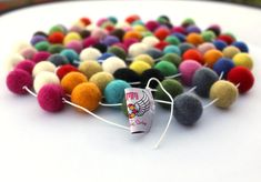 White String 14ft Felt Ball Garland by Crafttasticparties on Etsy