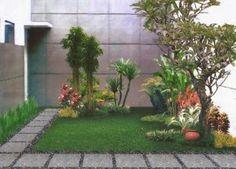 Taman rumah minimalis dengan jalan setapak