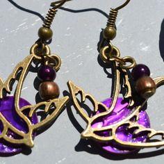 Boucles pour oreilles percées en métal couleur bronze hirondelles - bijoux fantaisie tessness