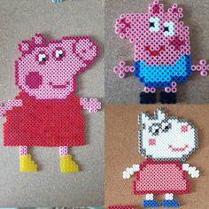 Peppa Pig hama beads by cosmichelen Pearler Bead Patterns, Perler Patterns, Pearler Beads, Fuse Beads, Cute Crafts, Bead Crafts, Diy And Crafts, Crafts For Kids, Perler Bead Disney