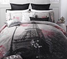 Logan-Mason-MA-CHERIE-Paris-Eiffel-Tower-QUEEN-Size-Bed-Doona-Quilt-Cover-Set