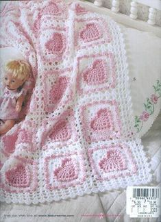 The Big Book of Baby Afghans crochet baby hearts afghan pattern Baby Afghan Crochet, Manta Crochet, Crochet Bebe, Afghan Crochet Patterns, Crochet Squares, Knitting Patterns, Crochet Granny, Crocheted Baby Blankets, Crochet Heart Blanket