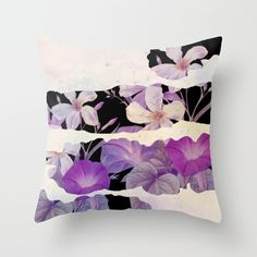 floral on torn paper Throw Pillow