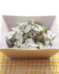cucumber salad w/ sour cream and dill - pair Pinot Blanc