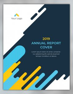 Annual report cover design with rounded shapes