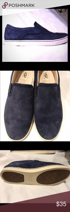 UGG Sporty Blue Suede shoes This classic slip-on is made from soft suede. A sheepskin lined heel interior makes them oh so comfy! UGG Shoes Flats & Loafers