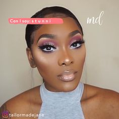 There is something in this makeup look that reminds me of Barbies! Makeup For Black Skin, Red Lips Makeup Look, Black Girl Makeup, Pink Makeup, Makeup For Brown Eyes, Girls Makeup, Hair Makeup, Maquillage On Fleek, Maquillage Black