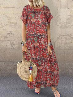 Special Price for Women Casual Loose Printed Short Sleeve Side Pockets Dress If You want to buy for Casual Women, then Women Casual Loose . Floryday Vestidos, Casual Dresses For Women, Clothes For Women, Dress Casual, Burgundy Bridesmaid Dresses, Plus Size Maxi Dresses, Maxi Dress With Sleeves, Beautiful Outfits, Ankle Length