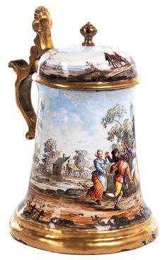 Viennese Enameled Stein. German Beer Steins, Beer Pictures, Silver Enamel, Porcelain, Mugs, Tableware, 19th Century, Copper, China