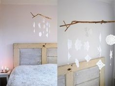 Snow flake mobile made from paper, a stick, and string. 40 DIY Home Decor Ideas That Aren't Just For Christmas