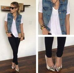 How to wear vans high tops pants 32 ideas How To Wear Vans, How To Wear Leggings, Jean Vest Outfits, Casual Outfits, Cute Spring Outfits, Cute Outfits, Vans High, Look Camisa Jeans, High Tops