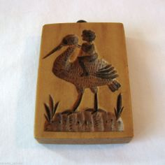 "Cookie Mold - Child Baby on Stork - ""The House On the Hill"" 2 7/8"""