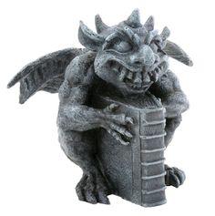 Gothic Horned Fantasy Librarian Gargoyle Figurine Sculpture Bibliography Nerd | eBay