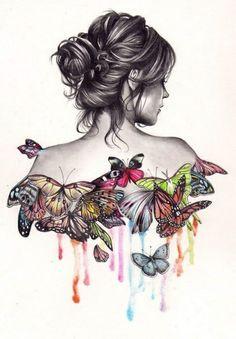 ʚįɞ Beautiful ༻ Butterfly Illustration by Unknown Artist Art And Illustration, Butterfly Illustration, Inspiration Art, Art Inspo, Art Papillon, Art Amour, Butterfly Art, Butterfly Sketch, Butterfly Dress