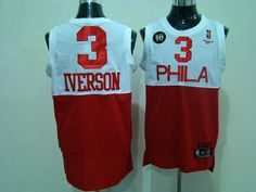 76ers  3 Allen Iverson White Red Reebok 10TH Throwback Stitched NBA Jersey  Red Reebok baabc951c