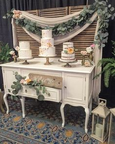 Wedding Decorations Elegant White Bridal Shower 18 Ideas - New ideas Wedding Cake Backdrop, Wedding Cake Display, Wedding Decorations, Buffet Wedding, Wedding Ideas, Wedding Decor Rentals, Wedding Cake Tables, Wedding Desert Table, Shabby Chic Wedding Decor