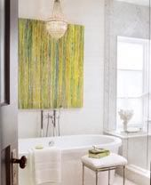 I've been drooling over this bathroom and specifically the painting for years. I've been searching for a similar painting for our bathroom.