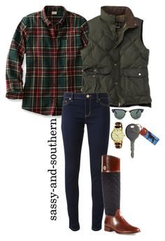 """#sassysouthernfall "" by sassy-and-southern ❤ liked on Polyvore featuring Barbour, Michael Kors, Tory Burch, Ray-Ban, Kate Spade, Cherokee and sassysouthernfall"
