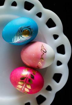 Glam Easter Eggs with Metallic Tattoos - My Insanity