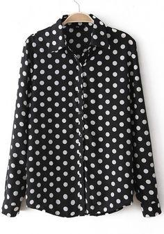 cd6076eb15d Black Polka Dot Print Turndown Collar Chiffon Blouse. I want this shirt!  Dressy Attire