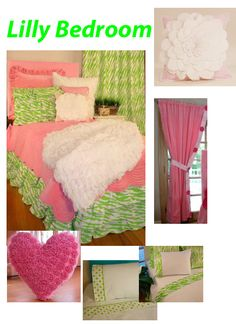 Lime Green and Pink Girls Bedroom