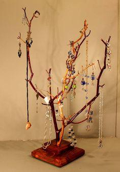 Tall Twin Branch Jewelry Tree  Manzanita  970 by RedBarkDesigns, $38.00