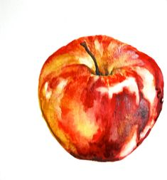 Apple Painting, Original watercolor painting, small still life. $25.00, via Etsy.