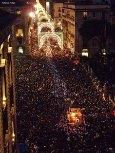 St. Agatha celebrations Catania, Sicily- this is how important Sicilians hold their patron Saint.... Look at the crowded street!