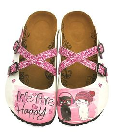 Look at this Pink 'We Are Happy' Cross-Strap Mule Cat Shoes, All About Shoes, Birkenstock, Kids Outfits, Take That, Footwear, Slip On, Sandals, Happy