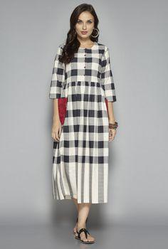 a6ed02d422c9f Buy Bombay Paisley by Westside Off White Checks Dress for Women Online    Tata CLiQ