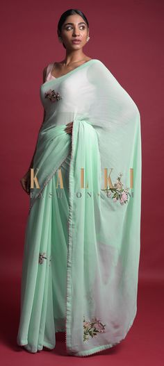 Mint Green Saree In Chiffon With Thread And Beads Embroidered Floral Motifs Online - Kalki Fashion Anarkali, Lehenga, Green Saree, French Knots, Chiffon Saree, Party Wear Sarees, Floral Motif, Indian Wear, Salwar Kameez