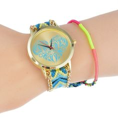 HOT Handmade Braided Elephant Dreamcatcher Friendship Bracelet Watch Canvas Watches Women Quarzt Watches relogio feminino