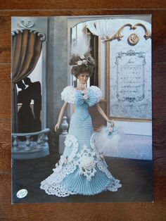 Fashion Doll Crochet Gown Pattern/June Ball Gown Calendar Bed Doll Society/ Turn of Century Bridal Trousseau Annie's Attic 7806 fitted dress
