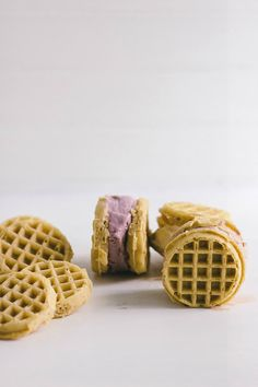 Waffle Ice Cream Sandwiches make for a cute and fun finger food.