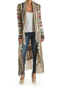 Long Multiclored Knit Cardigan