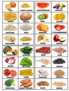 Food Printable Flashcards with real food