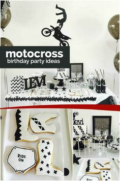 Black and white cool combine in a fun way at this boy's motocross birthday party, styled and photographed by Kristie Tracey of The Cake Pop Queen. Monochromatic decorations pair with a coordinating birthday cake, and Motocross Birthday Party, Motorcycle Birthday Parties, Dirt Bike Party, Dirt Bike Birthday, Motorcycle Party, Motocross Wedding, Motocross Baby, Boy First Birthday, 21st Birthday