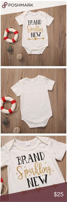 """Brand Sparkling Mew Baby Onesie This is a listing for a """"Brand Sparkling New"""" short sleeved Baby 0-3 month onesie. It has a 3-snap closure which makes changing easy! Perfect going home outfit!👊🏻PRICE FIRM👊🏻 One Pieces"""