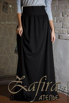 Купить Длинная юбка с завышенной талией - чёрный, однотонный, длинная юбка, макси юбка