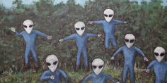 Artist David Huggins claims he's been communicating with Grays for over 60 years and lost his virginity to an alien female, resulting in over 50 hybrid children.